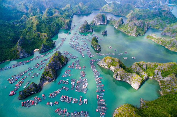 Lan Ha Bay in Halong Bay, View from Helicopter