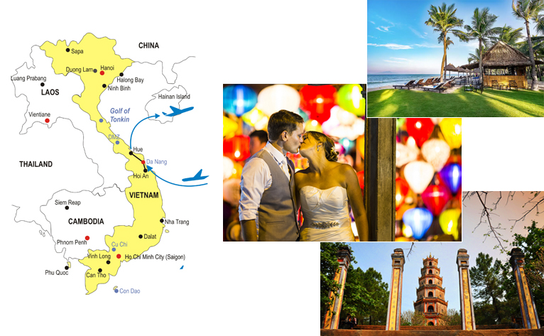 7-Day Central Vietnam Honeymoon Tour Map