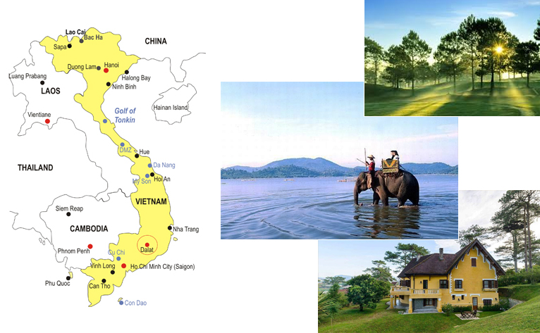 5-Day Da Lat Adventure Honeymoon Tour Map