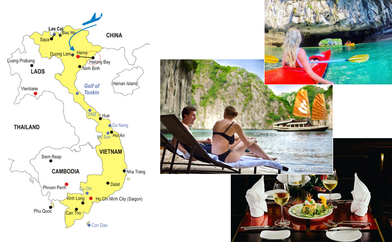 3-Day Halong Bay Honeymoon Tour Map
