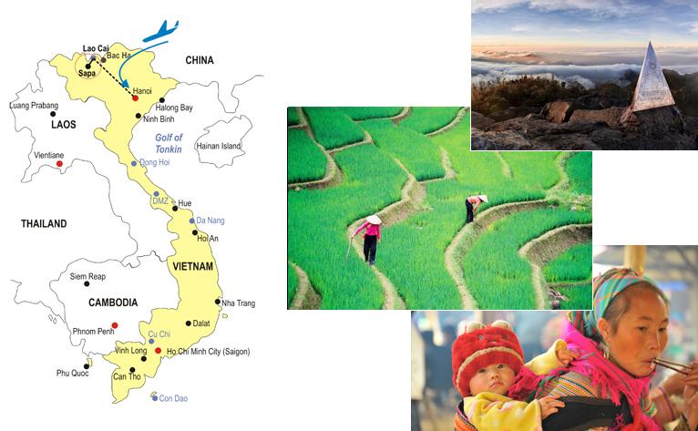 Sapa Adventure Honeymoon Tour 6 Days Map