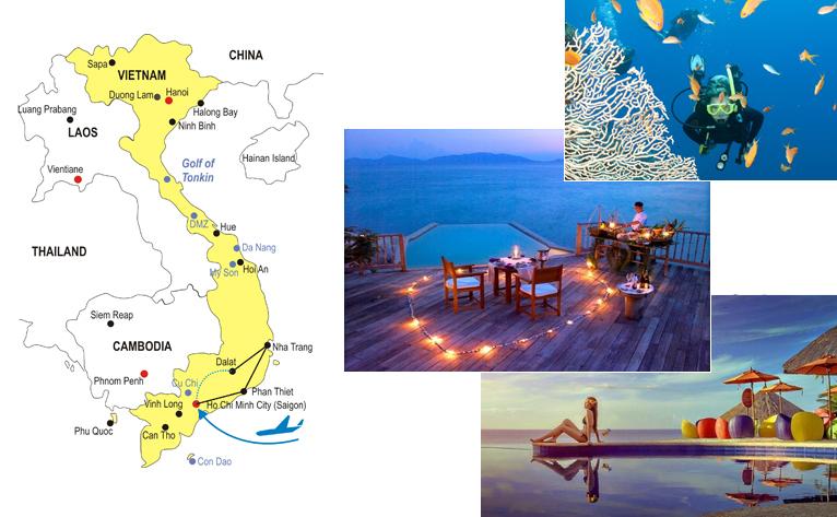 Southern Vietnam Honeymoon 14 Days Itinerary Map