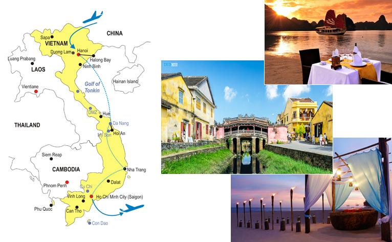 Vietnam Honeymoon Vacation 15 Days Itinerary Map