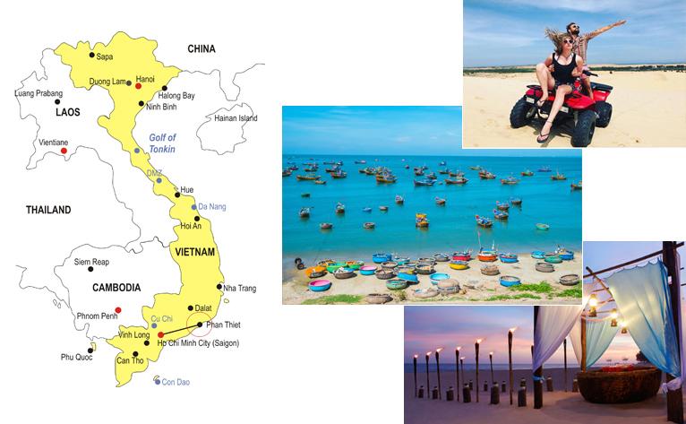 4-DAy Vietnam Honeymoon Phan Thiet Mui Ne Tour Map