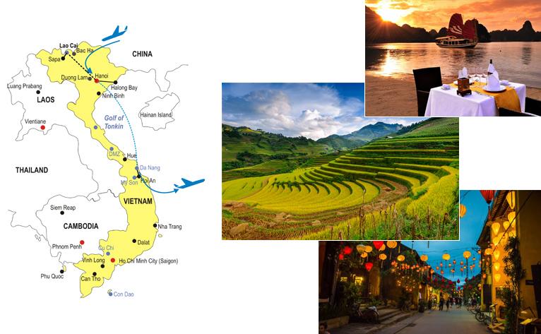 13-Day Vietnam Honeymoon Tour Map