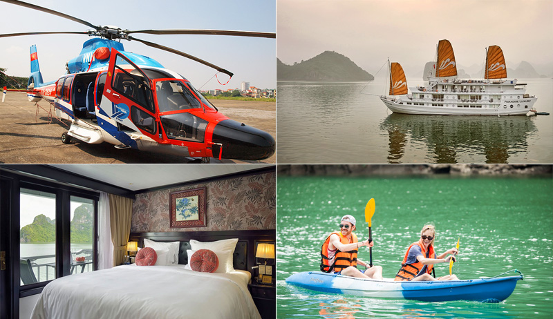 Halong Bay Honeymoon Package combines helicopter transportation and overnight cruise