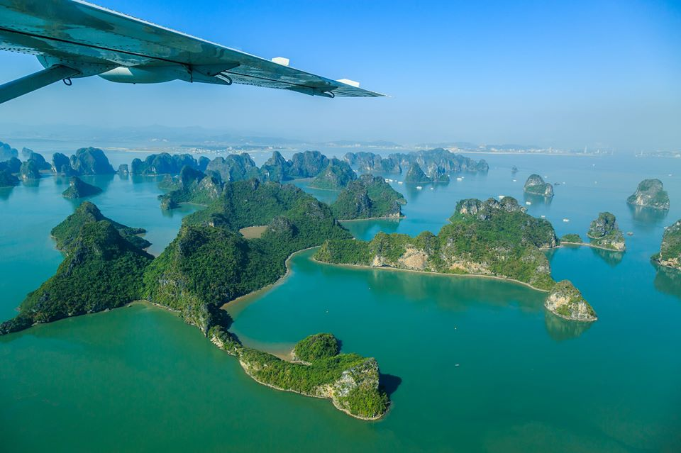 Admire Halong Bay from seaplane